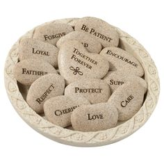 "Bring a unique touch to your wedding vows with the Vow Stones from Lillian Rose. This set of 13 stones has words like ""Respect"" and ""Love"" on the front, creating a visual reminder of the meaning behind your special day. Includes plate to hold the stones. Wedding Vows, Wedding Gifts, Wedding Day, Rustic Wedding, Greek Wedding, Church Wedding, Wedding Anniversary, Wedding Reception, Wedding Stuff"