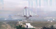 Mega spaceport, Martin Parker on ArtStation at https://www.artstation.com/artwork/NYO4D