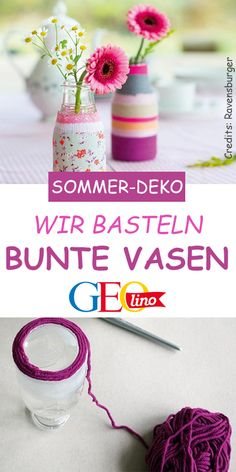 Wir basteln bunte Vasen Cover bottles, glasses or old vases with wool and fabric! Add a few flowers and the gift is perfect! Upcycled Crafts, Easy Crafts, Diy And Crafts, Crafts For Kids, Fleurs Diy, Old Vases, Diy Décoration, Bottle Crafts, Quilt Making
