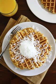 Pumpkin Coconut Yogurt Waffles | Girl Versus Dough