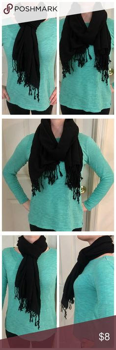Black Pashmina Scarf Fabric is worn so slightly rough to the touch, but still very functional and wearable! 100% cotton. Accessories Scarves & Wraps