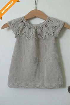 Autumn Leaves pattern by Nikki Van De Car Knit Baby Sweaters, Knitted Baby Clothes, Knit Baby Dress, Baby Cardigan, Summer Knitting, Baby Knitting, Baby Patterns, Dress Patterns, Sweater Knitting Patterns