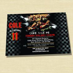 Custom Photo Race Car Birthday Invitation, Go Kart Birthday Invitation, Race Car Invitation - pinned by pin4etsy.com