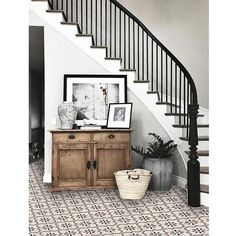 Marta Vinyl Tile Sticker Pack in Taupe – Tile Decals – Floor Stickers – home decor on a budget rental Tile Decals, Vinyl Tiles, Vinyl Flooring, Vinyl Decals, Floor Decal, Floor Stickers, Design Entrée, House Design, Curved Staircase