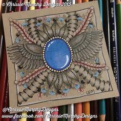 Zentangle gems on a renaissance tile by Chrissie Murphy Designs