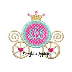 Digital Machine Embroidery Design Monogram Princess Carriage