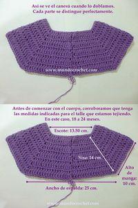 Como tejer un saco, campera, cardigan o chambrita a crochet o ganchillo desde el canesu05