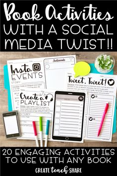 Book Activities with a Social Media Twist - Enrichment Activities, Reading Activities, Teaching Reading, Educational Activities, Learning, Reading Homework, Reading Workshop, Middle School Reading, 4th Grade Reading