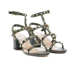Valentino Garavani Sandals (37,455 PHP) ❤ liked on Polyvore featuring shoes, sandals, army green, two buckle sandals, valentino sandals, beaded shoes, block heel ankle strap sandals and block heel sandals