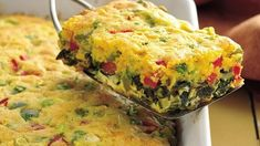 From Betty's Soul Food Collection...   Golden corn muffin mix tops a Southern greens-and-corn egg bake.