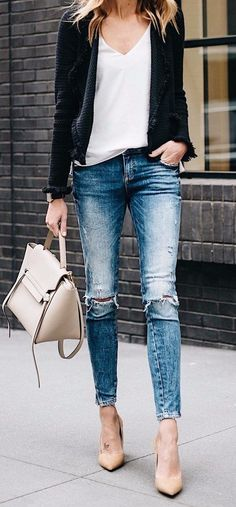 simple casual style rips + nude details