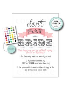 """Bridal Shower Game """"Don't Say Bride"""" - 8 x 11  Print Your Own Customized Bridal Shower Game Sign  Bachelorette Party Sign by BridalEtiquette on Etsy"""