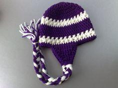 Niagara University Team Color, Naigara Basketball Team Color Hat, Crochet Earflap Hat, Purple Eagles Hat, Newborn Hat, Ready to Ship