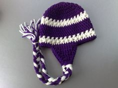 Niagara University Team Color, Naigara Basketball Team Color Hat, Crochet Earflap Hat, Purple Eagles Hat, Newborn Hat, Ready to Ship