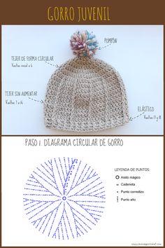 Crochet Motif, Crochet Hooks, Crochet Beanie, Knitted Hats, Crochet Crafts, Crochet Projects, Baby Knitting Patterns, Crochet Patterns, Bag Pattern Free