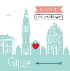 Groningen - Gijsje #Geboortekaartje #skyline #jongetje #Groningen