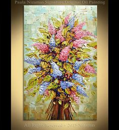 Lilac Bouquet 36 ABSTRACT ORIGINAL Palette Knife Thick by Artcoast