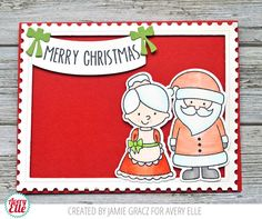 Jamie Gracz for Avery Elle North Pole Pals Clear Stamps & Dies Postage Stamp Dies Hanging Banners Stamps & Dies New Moon Dye Ink