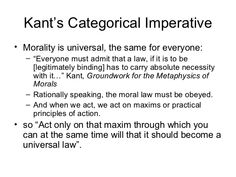 a study on immanuel kants moral imperatives Immanuel kant and the categorical imperative explained the concepts of good will, moral duty, summum bonnum and the five rules of kant's universal maxims alongside a brief discussion on how kant's theory could be applied to the modern ethical issue of genetic engineering.