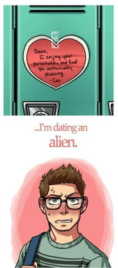 High school Dean & Cas>> he is so CUTE! where's cas? this would be a perfect yaoi!>~<