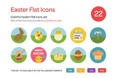 Easter Flat Icons Set by roundicons.com on Creative Market