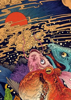 Vivid Illustrations Depict Dynamic Scenes of Nature and East Asian Mythology is part of Psychedelic art Shenzhen, Chinabased artist RLoN Wang is back with more intricate illustrations that burst wit - Art And Illustration, Botanical Illustration, Food Illustrations, Japanese Artwork, Japanese Art Modern, Hippie Art, Japan Art, Japan Japan, Art Graphique