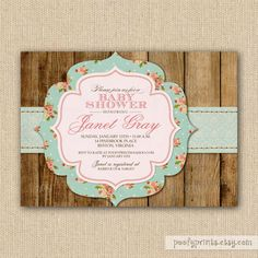 Rustic Shabby Chic Baby Shower Invitations DIY By PoofyPrints, $24.00