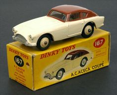 Dinky Toys 167 - AC Aceca Coupe. Cream body & darker hubs, brown roof. Some brown paint spotting to bonnet & small chips mainly to underside of doors otherwise Near Mint in Good plus box (scuffed, price graffiti to one end).