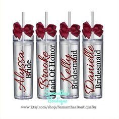 Set of 6 Custom Wedding Party Skinny Acrylic Tumblers (The Allura Collection)