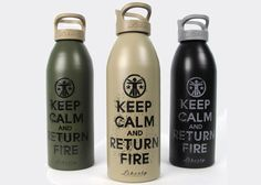 'Keep Calm  Return Fire' How cool would that be to keep .2 gram or .12 gram BBs in those, and keep them as a party favor after you use up all the ammo! Haha so cool!!
