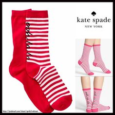 ❌SOLD KATE SPADE 2 Pairs of Trouser Socks 💟 NEW WITH TAGS 💟  2 Pairs of Kate Spade Trouser Boot Socks  * Super soft & comfortable fabric * Opaque Knit construction (not sheer). * Stretch-to-fit * One size fits most; Pull on & to the mid calf style ****The Kate Spade socks on the model in the cover photo are for styling purposes only & to show length. *** Fabric: 63% Cotton, 35% Polyester & 2% spandex; Machine wash Item:91300 Color: White Red Striped combo  🚫No Trades🚫 ✅Bundle Discounts✅…