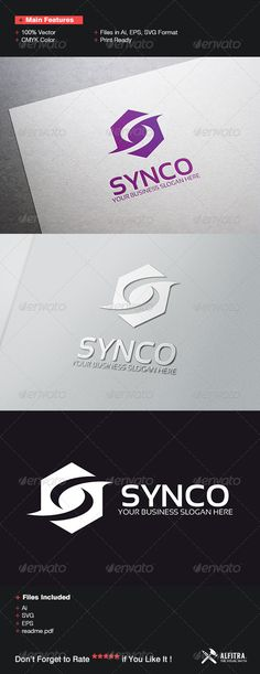 Synco Logo Template — Vector EPS #studio #letters • Available here → https://graphicriver.net/item/synco-logo-template/7397369?ref=pxcr