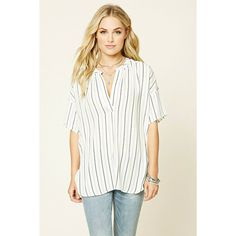 Striped Boxy Top (8.685 CRC) via Polyvore featuring tops, white boxy top, striped top, 3/4 sleeve tops, stripe 3/4 sleeve top and forever 21 tops