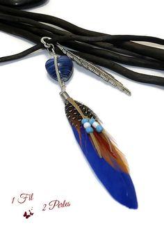 Marque page Plume Coeur de Verre Bleu Wire Wrapping et Breloque Plume Bleue : Marque-pages par 1-fil-2-perles