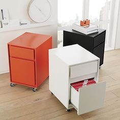 Milton Black, Paprika And Salt Filing Cabinets | Crate And Barrel
