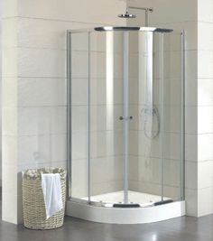 new curved shower screen plus base with sliding door