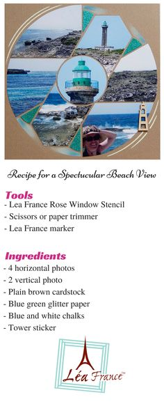 European Scrapbooking Page created by Sachana, using Rose Window Lea France Stencil. If you never heard about European Scrapbooking, click here http://www.leafrance.com/ to find out why so many users fell in love with our reusable stencils.