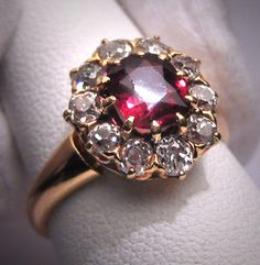 """( The """"untraditional looks"""" today was haute couture not so many years ago. And now those looks are considered """"out of the box"""" or """"unique"""" again today. ASW) Antique Garnet Diamond Wedding Ring Vintage Victorian via Etsy Beautiful Wedding Rings, Wedding Rings Vintage, Vintage Rings, Wedding Ring Box, Diamond Wedding Rings, Wedding Jewelry, Diamond Rings, Weding Ring, Victorian Jewelry"""