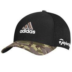 d093a034913c0 TaylorMade Adidas Golf Tour Mesh FlexFit Black Camo Camouflage Fitted Hat  Cap  black
