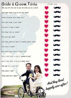 Bridal Shower game ... Bride & Groom Trivia