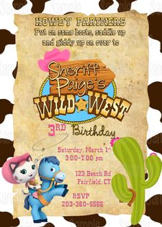 Printable  Sheriff Callie Wild West Birthday Party Invitation on Etsy, $10.00