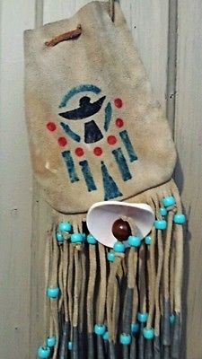Native American Leather Medicine Bag Pouch Phoenix Talisman Chimes Beaded Vtg #eBay MUST SEE VIDEO included in auction! Happy eBaying :)