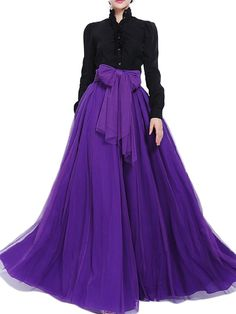 Cheap & Stylish Bow Belt Solid Color Mesh Tulle Pleated Elastic Waist Women Maxi Skirt - NewChic