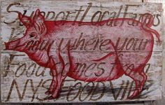 Pig painting on re-purposed wood by johnandgigiathome on Etsy