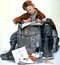 .Boy Writing a Letter,  Norman Rockwell