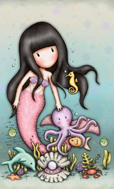 Erinnert mich an mein kleines Herz. Little Doll, Little Girls, Cute Images, Cute Pictures, Cute Cartoon Girl, Ideias Diy, Mermaid Art, Octopus Mermaid, Manga Comics