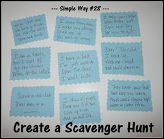 of 31 Simple Ways to Celebrate Today – Celebrate Every Day With Me Scavenger Hunt! Clues for a preschooler & toddler. Scavenger Hunt Riddles, Easter Scavenger Hunt, Outdoor Scavenger Hunts, Scavenger Hunt Birthday, Scavenger Hunt For Kids, Anniversary Scavenger Hunts, Tyler The Creator, Detective, Treasure Hunt Clues