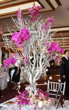 Wedding Winter Decorations Bridesmaid Bouquets 25 Ideas For 2019 Tree Branch Centerpieces, Wedding Table Centerpieces, Reception Decorations, Baby Shower Decorations, Wedding Tables, Centerpiece Ideas, White Branch Centerpiece, Manzanita Centerpiece, Purple Centerpiece