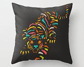 Pillow Cover, (18x18) Colourful Tiger Print Pop Art for the Home Decor by Modern Artist Jazzberry Blue