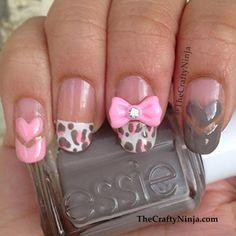 DIY Girly Leopard Heart Nails DIY Nails Art
